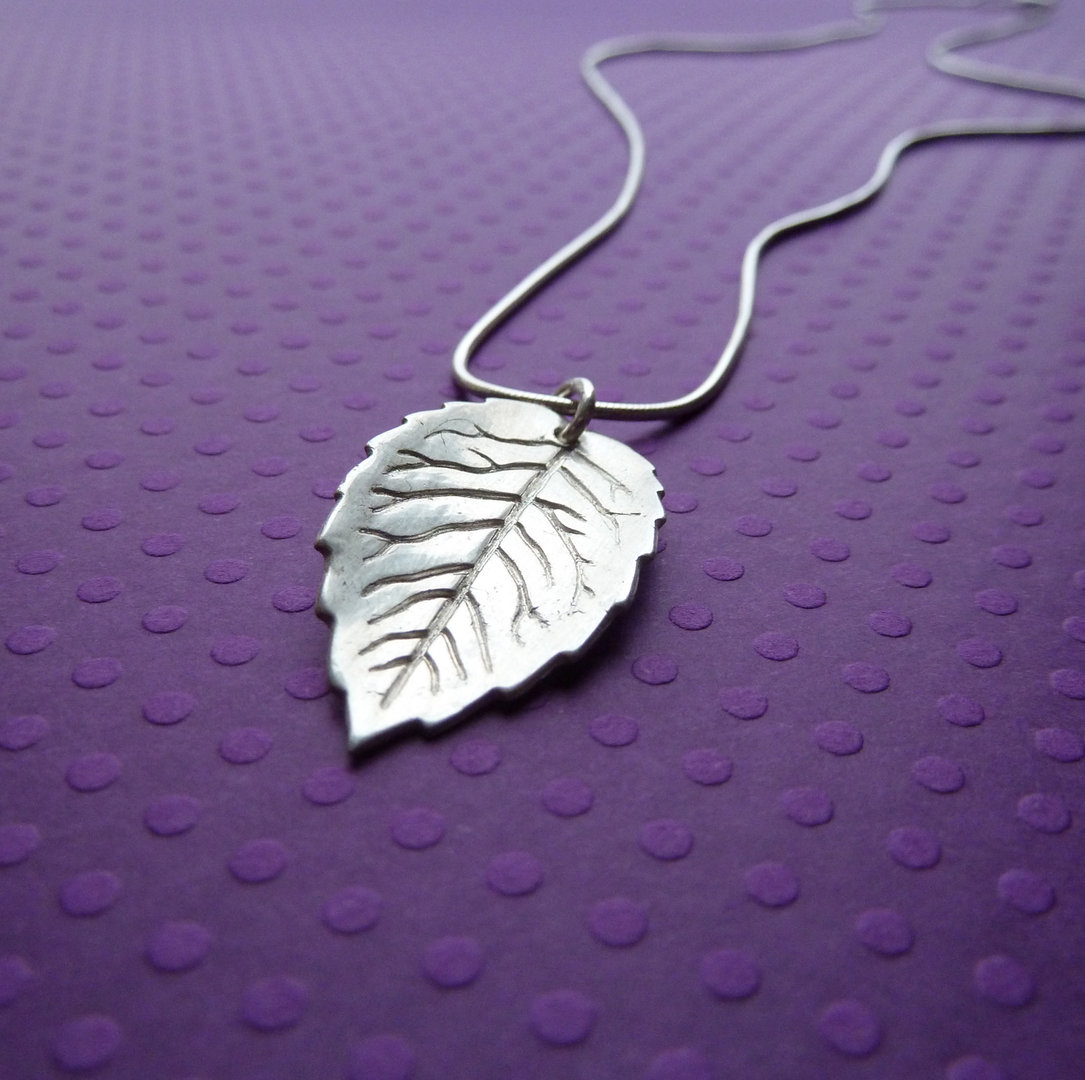 Fine silver rose leaf pendant anna king jewellery fine silver rose leaf pendant aloadofball Image collections