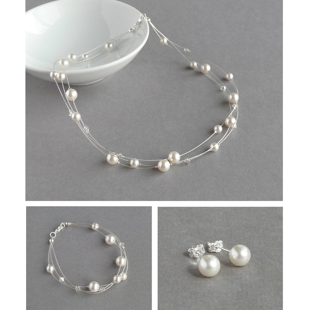 how to make floating pearl necklace