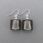 Grey Fused Glass Earrings