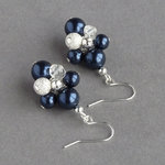 Navy Blue Stardust Cluster Earrings