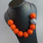 Deep Orange Felt Necklace