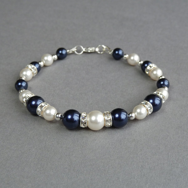 Navy Pearl And Crystal Bracelet