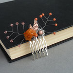 Orange Coral Flower Hair Comb