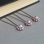 Dusky Pink Pearl Flower Hair Pins