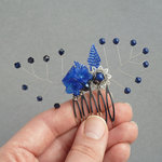 Royal Blue Flower Hair Comb