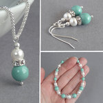 Mint Pearl and Crystal Jewellery Set