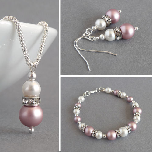 Dusky Pink Pearl and Crystal Jewellery Set