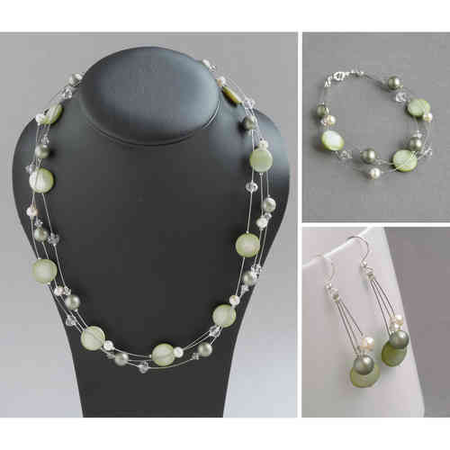 Sage Green Floating Pearl Jewellery Set