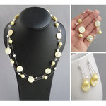 Pale Yellow Floating Pearl Jewellery Set