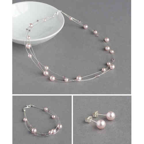 Blush Pink Floating Pearl Jewellery Set