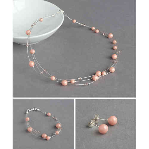 Coral Pink Floating Pearl Jewellery Set