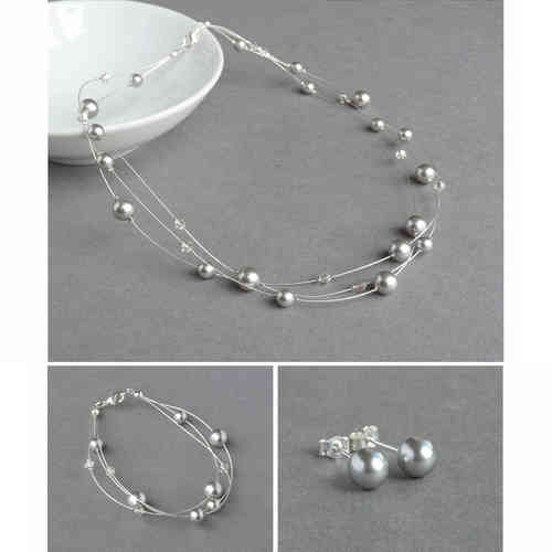 Silver Grey Floating Pearl Jewellery Set