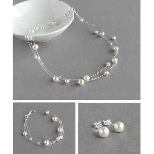 White Floating Pearl Jewellery Set