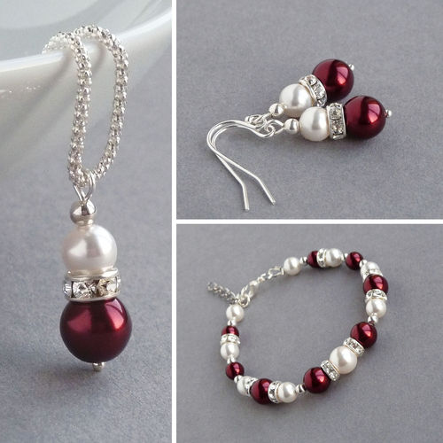Burgundy Pearl and Crystal Jewellery Set