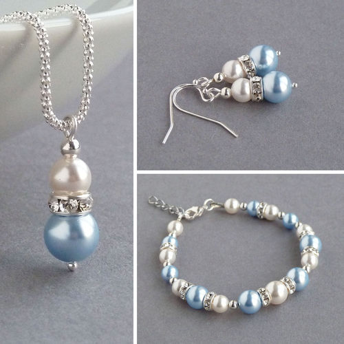 Light Blue Pearl and Crystal Jewellery Set