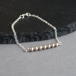 Champagne Pearl and Silver Bracelet