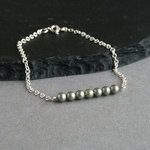 Sage Green Pearl and Silver Bracelet