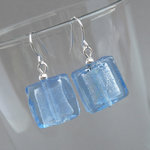 Powder Blue Fused Glass Earrings