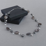 Dark Grey Floating Pearl Necklace
