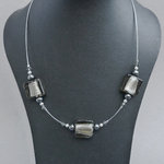 Grey Fused Glass Necklace