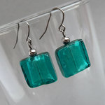 Teal Fused Glass Earrings