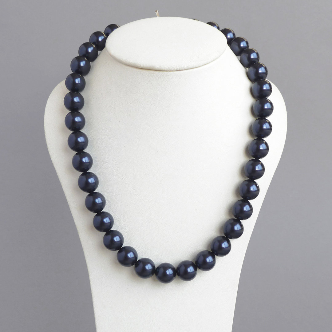 Navy Blue Chunky Pearl Necklace Anna King Jewellery