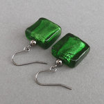 Green Fused Glass Earrings