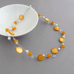 Sunflower Yellow Floating Pearl Necklace