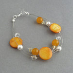 Sunflower Yellow Floating Pearl Bracelet