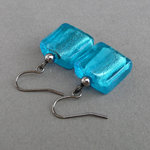 Sea Blue Fused Glass Earrings