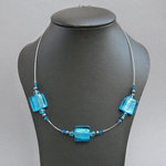 Sea Blue Fused Glass Necklace