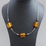 Amber Fused Glass Necklace