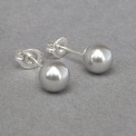 Silver Grey Pearl Stud Earrings - 6mm Light Grey Everyday Studs