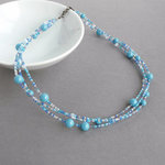 Caribbean Blue Multi Strand Necklace