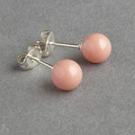 Peach Coral Pearl Stud Earrings - 6mm Round Peach Studs