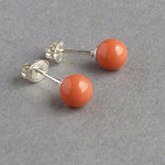 Orange Coral Pearl Stud Earrings - Small 6mm Orange Studs