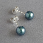 Dark Green Pearl Stud Earrings - Peacock Green 6mm Round Ball Studs