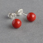 Coral Red Swarovski Pearl Stud Earrings - 6mm Round Scarlet Studs