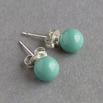 Aqua Swarovski Pearl Stud Earrings - Jade 6mm Everyday Ball Studs