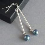 Long Dark Green Pearl and Silver Bar Drop Earrings - Simple Everyday Peacock Green Dangle Earrings