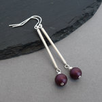 Long Plum Pearl and Silver Bar Drop Earrings - Simple Everyday Aubergine Dangle Earrings