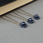 Navy Pearl Flower Hair Pins