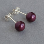 Plum Pearl Stud Earrings - 6mm Round Aubergine Studs