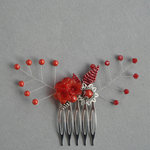 Coral Red Flower Hair Comb