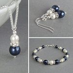 Navy Pearl and Crystal Jewellery Set