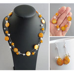 Sunflower Yellow Floating Pearl Jewellery Set