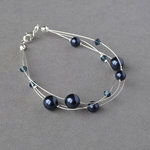 Navy Floating Pearl Bracelet