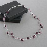 Plum Floating Pearl Necklace - Mulberry Multi-strand Wedding Necklace