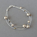 Taupe Floating Pearl Bracelet