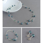 Dark Green Floating Pearl Jewellery Set